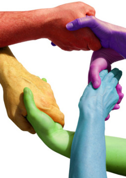 Many hands symbolizing teamwork, power and strength